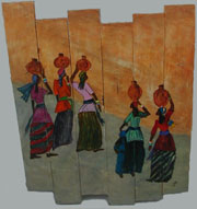 African Women Wood Slat Painting