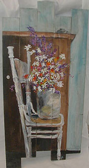 Flowers On Chair Wood Slat Painting